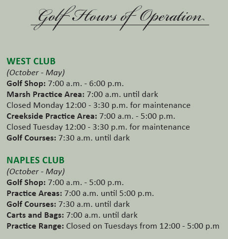 Golf Hours of Operation